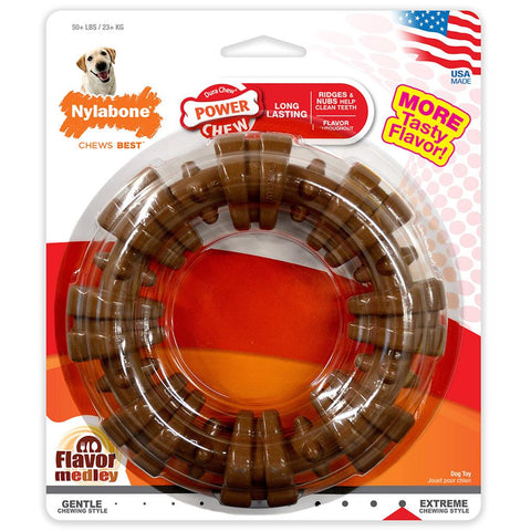 NYLABONE DURACHEW TEXTURED RING CHICKEN FLAVOR DOG TOY