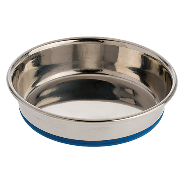 OUR PETS CAT RUBBER BONDED STAINLESS STEEL DISH 8OZ