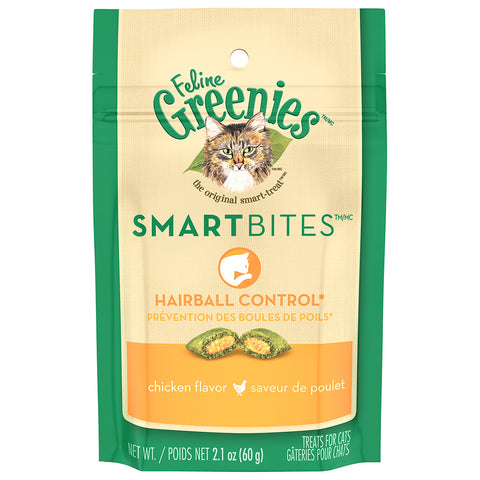 GREENIES FELINE SMARTBITES: HAIRBALL CONTROL CHICKEN FLAVOR