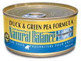NATURAL BALANCE L.I.D. CAN: DUCK & GREEN PEA FORMULA CAT 24/CASE