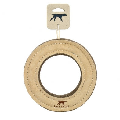 "Tall Tails 7"" RING Natural Leather & Wool Dog Toy"
