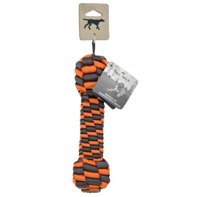 "Tall Tails 9"" Braided Bone Toy - Orange & Charcoal"