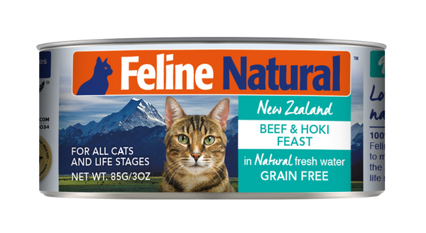 FELINE NATURAL BEEF & HOKI FEAST CAN 85G