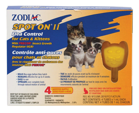 ZODIAC SPOT ON II FLEA CONTROL FOR CATS