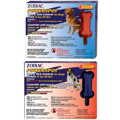 ZODIAC POWERSPOT FLEA AND TICK CONTROL FOR DOGS