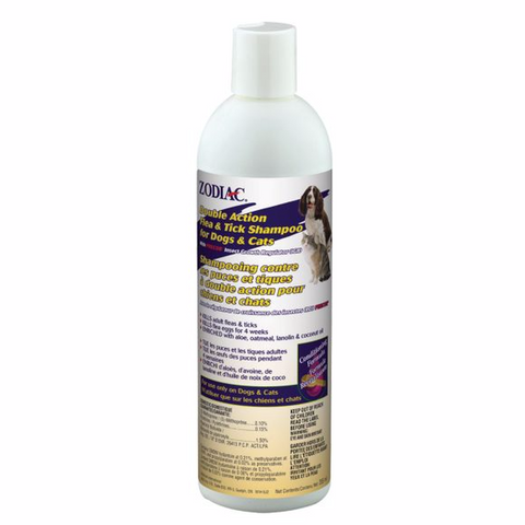 ZODIAC DOUBLE ACTION FLEA & TICK SHAMPOO FOR DOGS & CATS 355ML