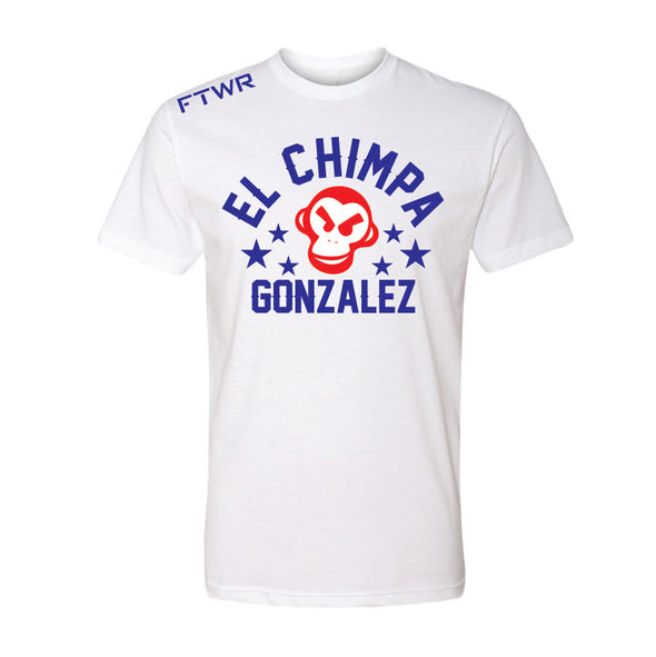 Christian Gonzalez El Chimpa Chrome Red/Blue White tee