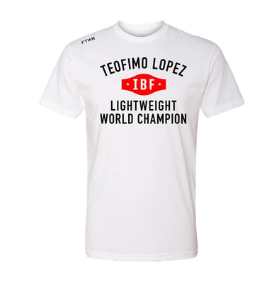 Teofimo Lopez Lightweight IBF Champion White/Black Tee