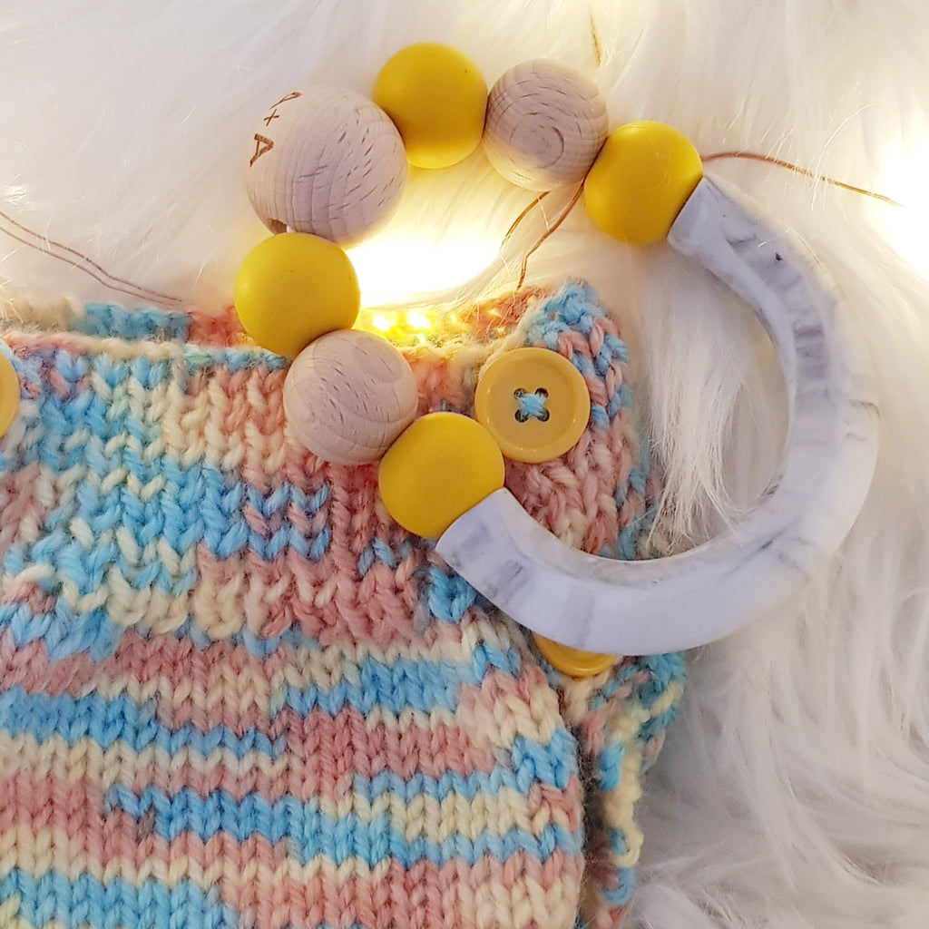 Arabella + Autumn Gemini Teether Mustard & Grey Marble