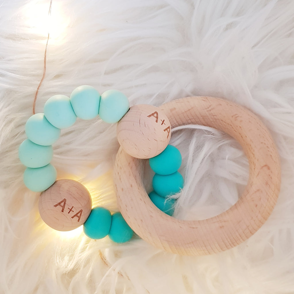 Arabella + Autumn Saturn Teether Mint & Turquoise