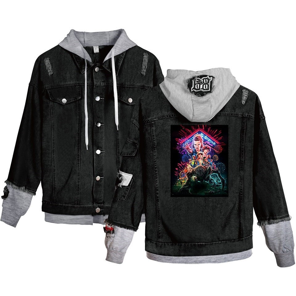 Jean Jackets With Hoodies Stranger Things Denim Jean Stitching Coat Young People Hoodies