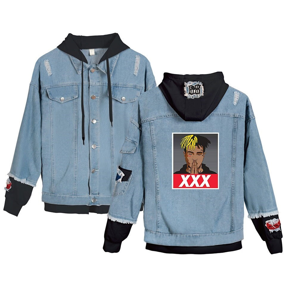 Jean Jackets With Hoodies Xxxtentacion Denim Jacket Hellboy Hip Hop Sweatshirt Unisex Fashion
