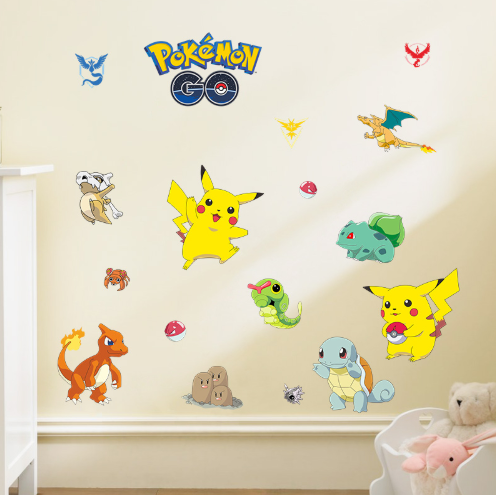 Pokemon go pvc wall art decals for kids bedroom pikachu home decor kids