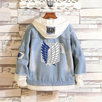 Attack On Titan Jeans Scout Regiment Cosplay Denim Jacket Boys Mens Hoodie AOT4 - Tina Store