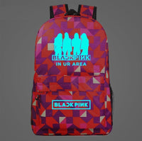 Black Pink Backpack Blue Luminous Korean Backpack Youth Student Schoolbag SB1528 - Tina Store
