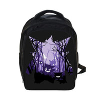 Cartoon Pokemon Gastly Haunter Gengar Printing Backpack Kids Boys Girls School Bags