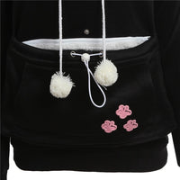 Cat Ear Hoodie Casual Animal Lover Cats Front Pocket Black Hoodie For Womens - Tina Store
