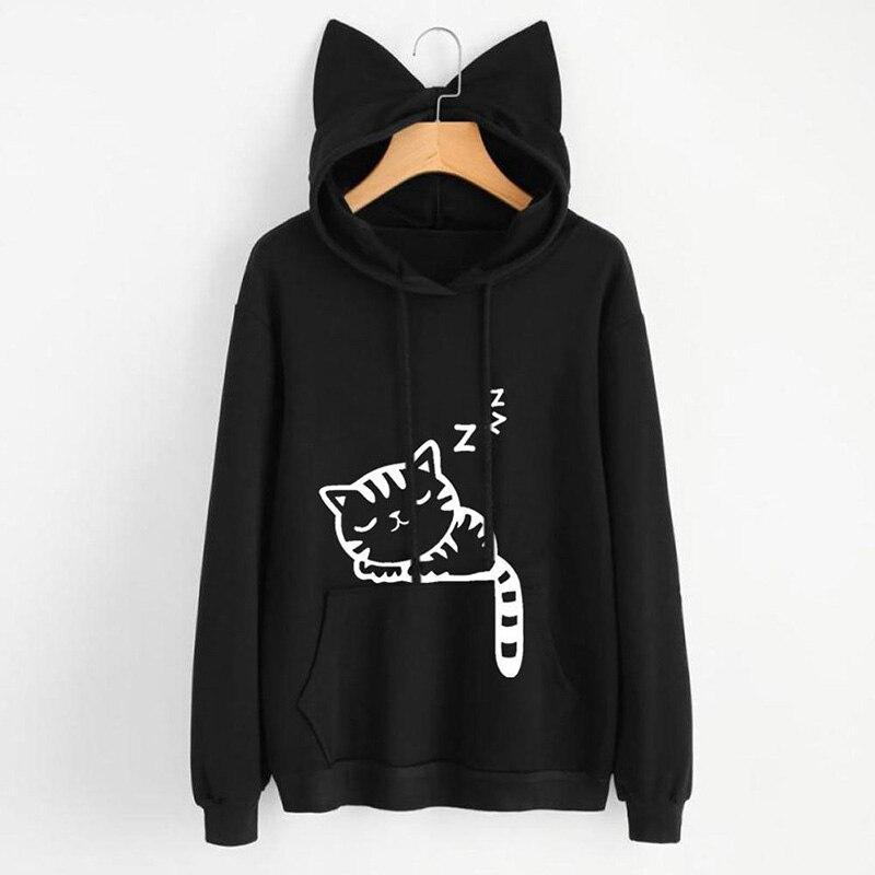 Cat Ear Hoodie Printed Long Sleeve Pullovers Fashion Tops Black Hoodie For Womens - Tina Store