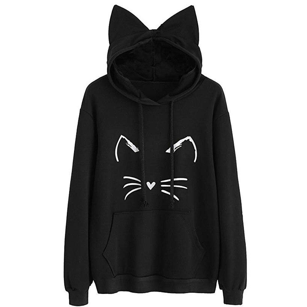 Cat Ear Hoodie Women's Sweatshirts Long Sleeve Pullover Tops Poleron Mujer Black Hoodie - Tina Store