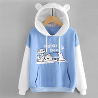 Cat Pouch Hoodie Chamsgend Polar Bear Cartoon Front Pockets Pullover Blue Hoodie For Girls