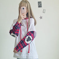 Cat Pouch Hoodie Japanese Cute Street Kawaii Cat Anime Girl Clothes Plaid Hoodies Pullover White Hoodie For Womens