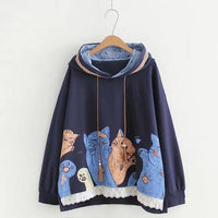 Cat Pouch Hoodie Kawaii Cat Printed Hoodies Funny Cute Loose Hooded For Womens - Tina Store