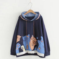 Cat Pouch Hoodie Kawaii Cat Printed Hoodies Funny Cute Loose Hooded Navy Blue Hoodie For Womens