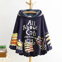 Cat Pouch Hoodie Loose Print Cat Kawaii Japan Style Tops Cute Dark Blue Hoodie For Womens