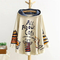 Cat Pouch Hoodie Loose Print Cat Kawaii Japan Style Tops Cute White Hoodie For Womens