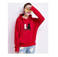 Cat Pouch Hoodie Pullover Cat Kawaii Poleron Mujer Blue Kangaroo Pocket Hoodie Red Hoodie For Womens