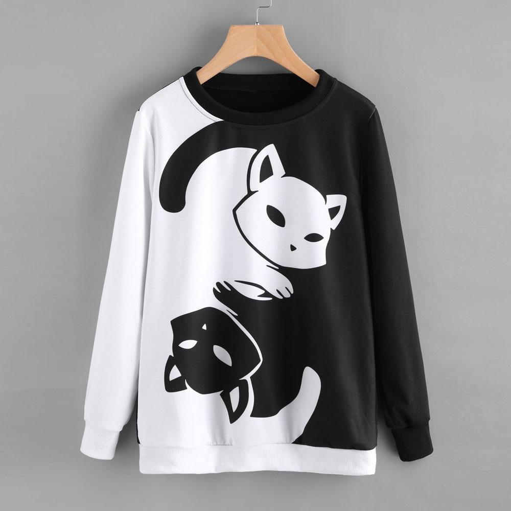 Cat Pouch Hoodie Pullover With Cat Top Pullover Cotton Blend Kawaii Cute Black And White Hoodie For Womens - Tina Store