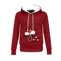 Cat Pouch Hoodie Pullovers Cuddle Pouch Pocket Animal Red Hoodie For Womens