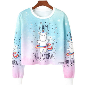Crop Top Hoodie For Girls Harajuku Animal I AM HULACORN Blue Crop Top Hoodie - Tina Store