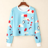 Crop Top Hoodie For Girls Harajuku BTS Blue Crop Top Hoodie