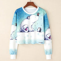 Crop Top Hoodie For Girls Harajuku BTS Cartoon Bear White Crop Top Hoodie