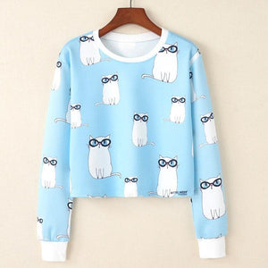 Crop Top Hoodie For Girls Harajuku BTS Cartoon Cat Blue Crop Top Hoodie - Tina Store