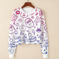 Crop Top Hoodie For Girls Harajuku BTS Cartoon White Crop Top Hoodie