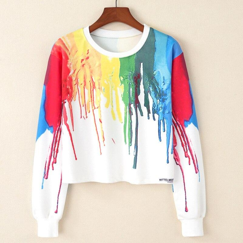 Crop Top Hoodie For Girls Harajuku BTS Colorful Crop Top Hoodie - Tina Store