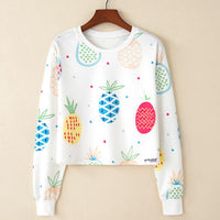 Crop Top Hoodie For Girls Harajuku BTS Fruit White Crop Top Hoodie
