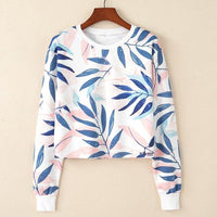 Crop Top Hoodie For Girls Harajuku BTS Leaf White Crop Top Hoodie