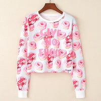 Crop Top Hoodie For Girls Harajuku BTS White Pink Crop Top Hoodie