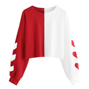 Crop Top Hoodie For Girls Heart Print Patchwork Long Sleeve Pullover Teens Tops White Red Crop Top Hoodie - Tina Store