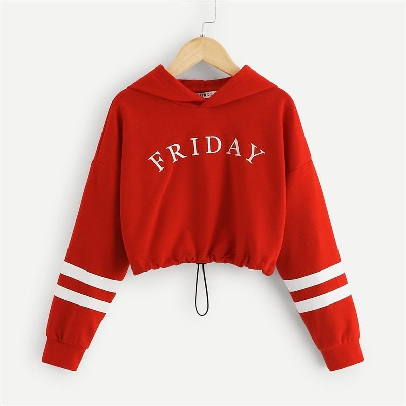 Crop Top Hoodie For Girls Letter Front Crop Casual Long Sleeve Red Crop Top Hoodie - Tina Store