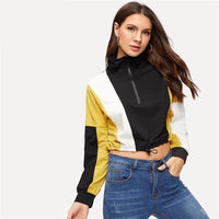 Cropped Zip Up Hoodie Color Block Casual Fall Stand Collar Ladies Sporty Black White Yellow Crop Top Hoodie Womens