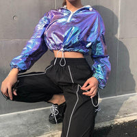 Cropped Zip Up Hoodie Shiny Laser Drawstring Jacket Cool Hiphop Sexy Casual Purple Crop Top Hoodie Womens - Tina Store