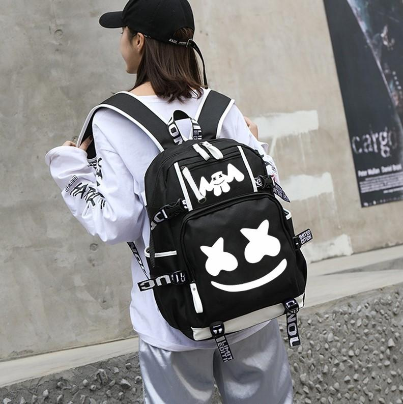 Halloween Luminous Bag Marshmello Fortnite School Bags USB Charging Student School Bags - Tina Store