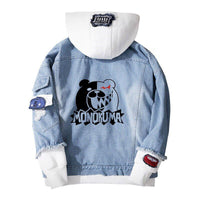 Jean Jackets With Hoodies Anime Danganronpa Monokuma Cosplay Winter Casual Warm Loose Sweatshirt
