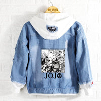 Jean Jackets With Hoodies Jojo Bizarre Adventure Golden Wind Hoodie Denim Jacket