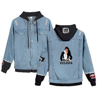 Jean Jackets With Hoodies Selena Quintanilla Stitching Coat Jeans Hoodies