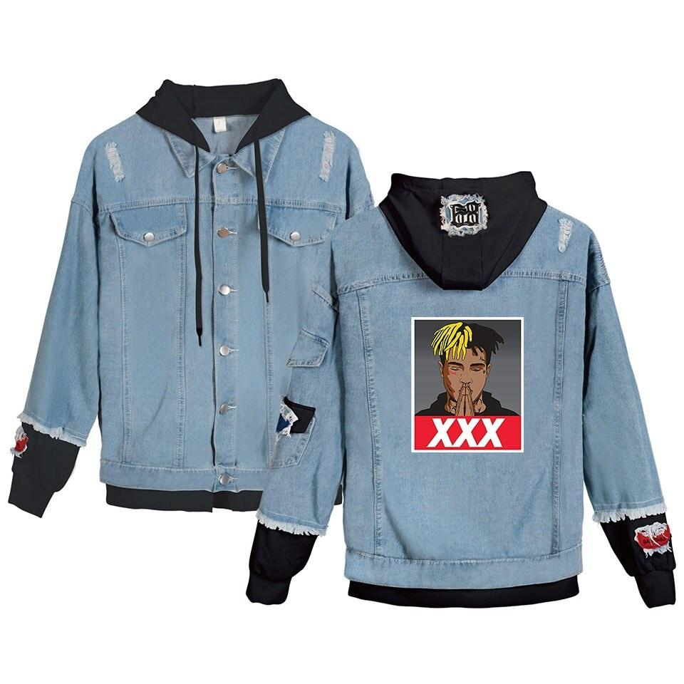 Jean Jackets With Hoodies Xxxtentacion Denim Jacket Hellboy Hip Hop Sweatshirt Unisex Fashion - Tina Store